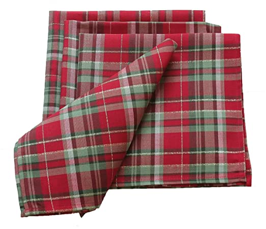 Christmas Tablescape Decor - Christmas Tartan Holiday Napkins - Set of 4