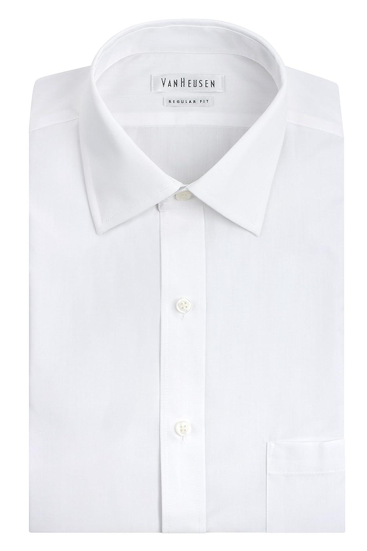 Van Heusen mens Poplin Regular Fit Solid Spread Collar Dress Shirt 20F7796