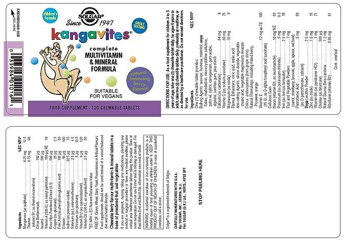 Solgar, Kangavites Multivitamin & Mineral Bouncin Berry Flavour masticable tabletas, 120: Amazon.es: Salud y cuidado personal
