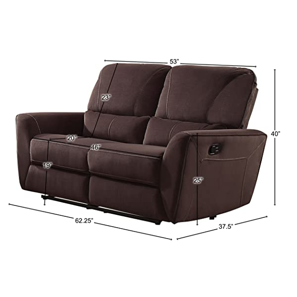 """Homelegance Dowling 63"""" Fabric Upholstered Reclining Loveseat, Brown"""