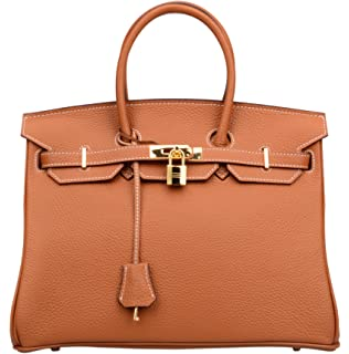 a658dcc83edc Ainifeel Women s Padlock Genuine leather 40CM Handbags (40cm(Silver ...