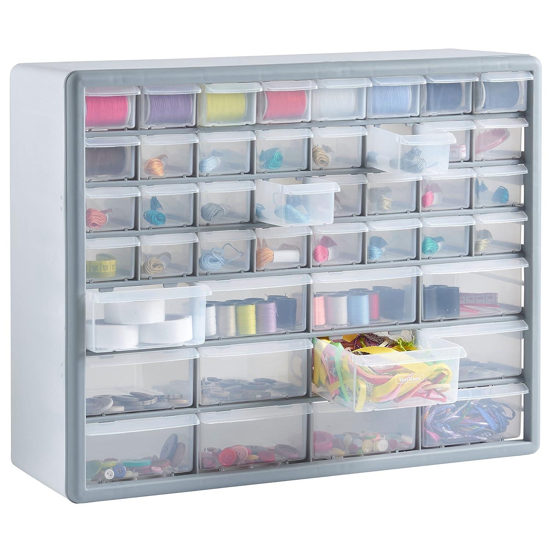 VonHaus 44 Multi Drawer Storage Cabinet Organiser - White/ Grey ...