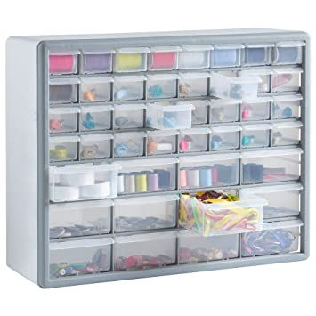 VonHaus 44 Multi Drawer Storage Cabinet Organiser - White/ Grey ...