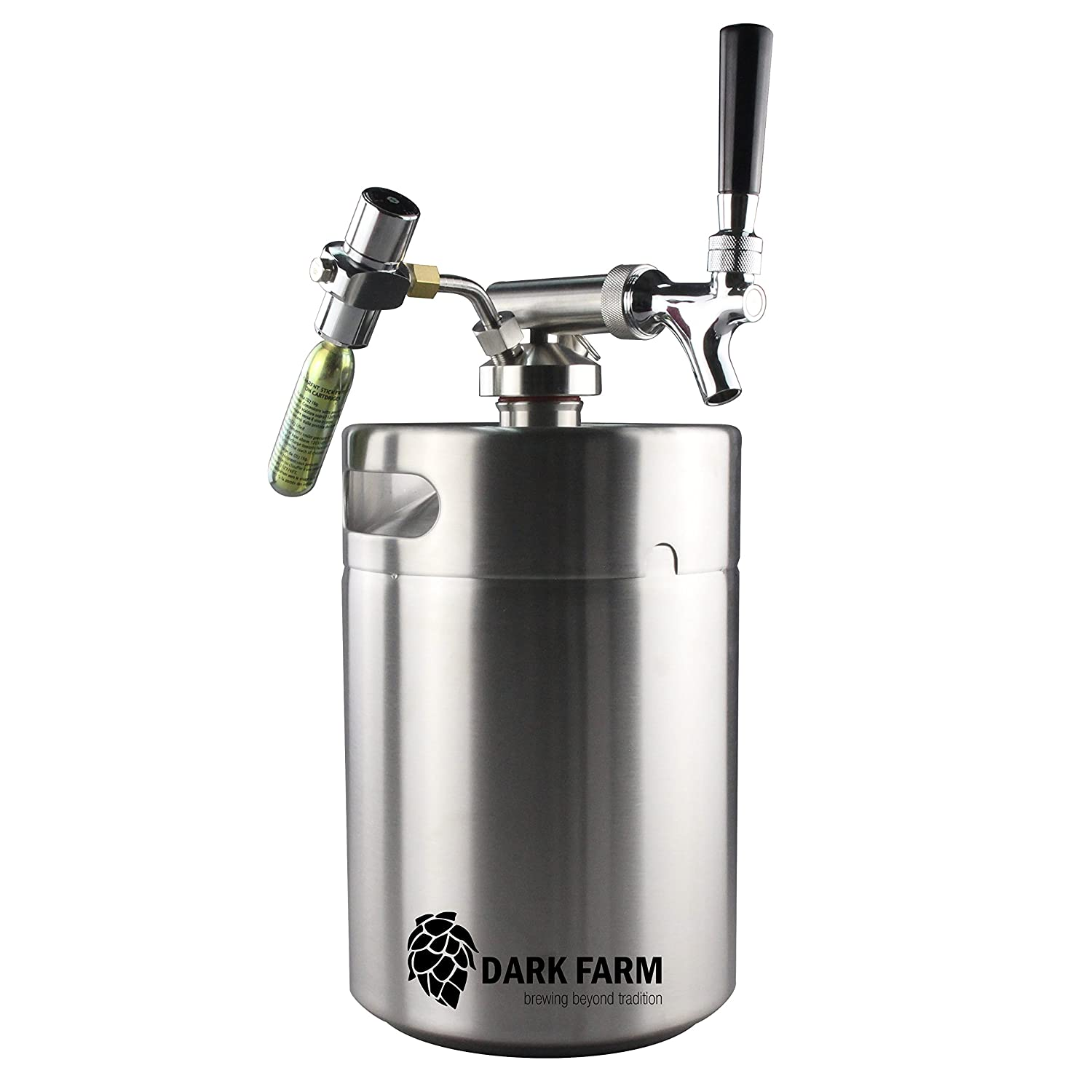Portable Home Brew Draft System 5L Mini Keg/Growler with CO2 Dispenser Dark Farm