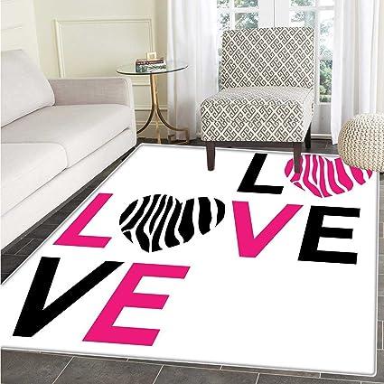 Pink Zebra Dining Room Home Bedroom Carpet Floor Mat I Love You Calligraphy  Zebra Stripes Hearts