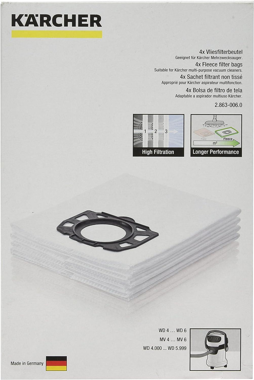 Kärcher parte original número 69044090 de forro polar aspiradora bolsas de recambio con filtro para Karcher WD5200: Amazon.es: Hogar
