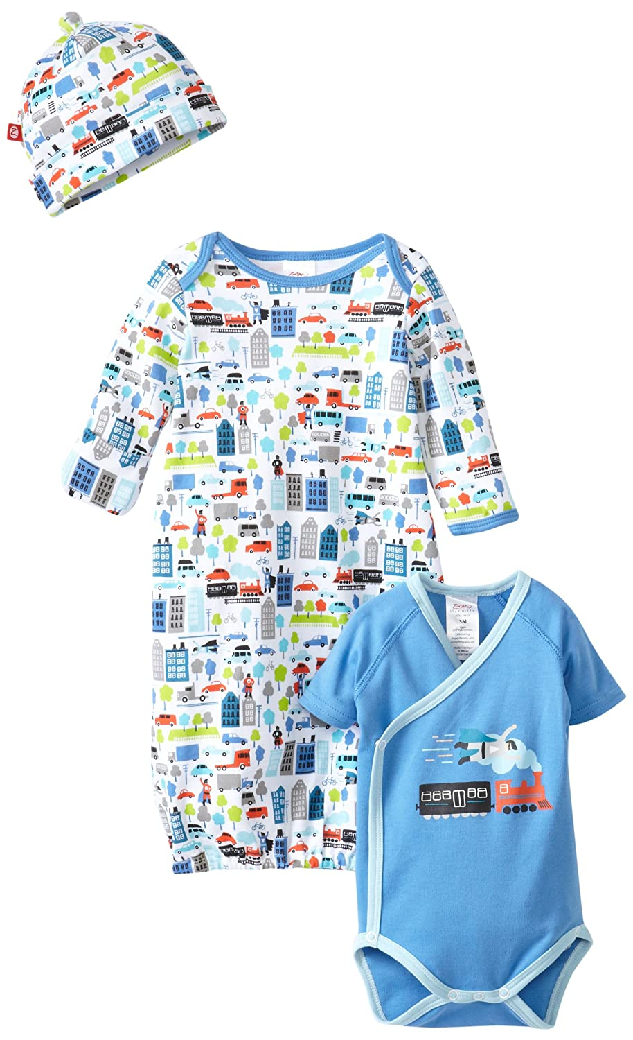 Short Sleeve Wrap And Hat Set Zutano Baby-Boys Super Hero Gown