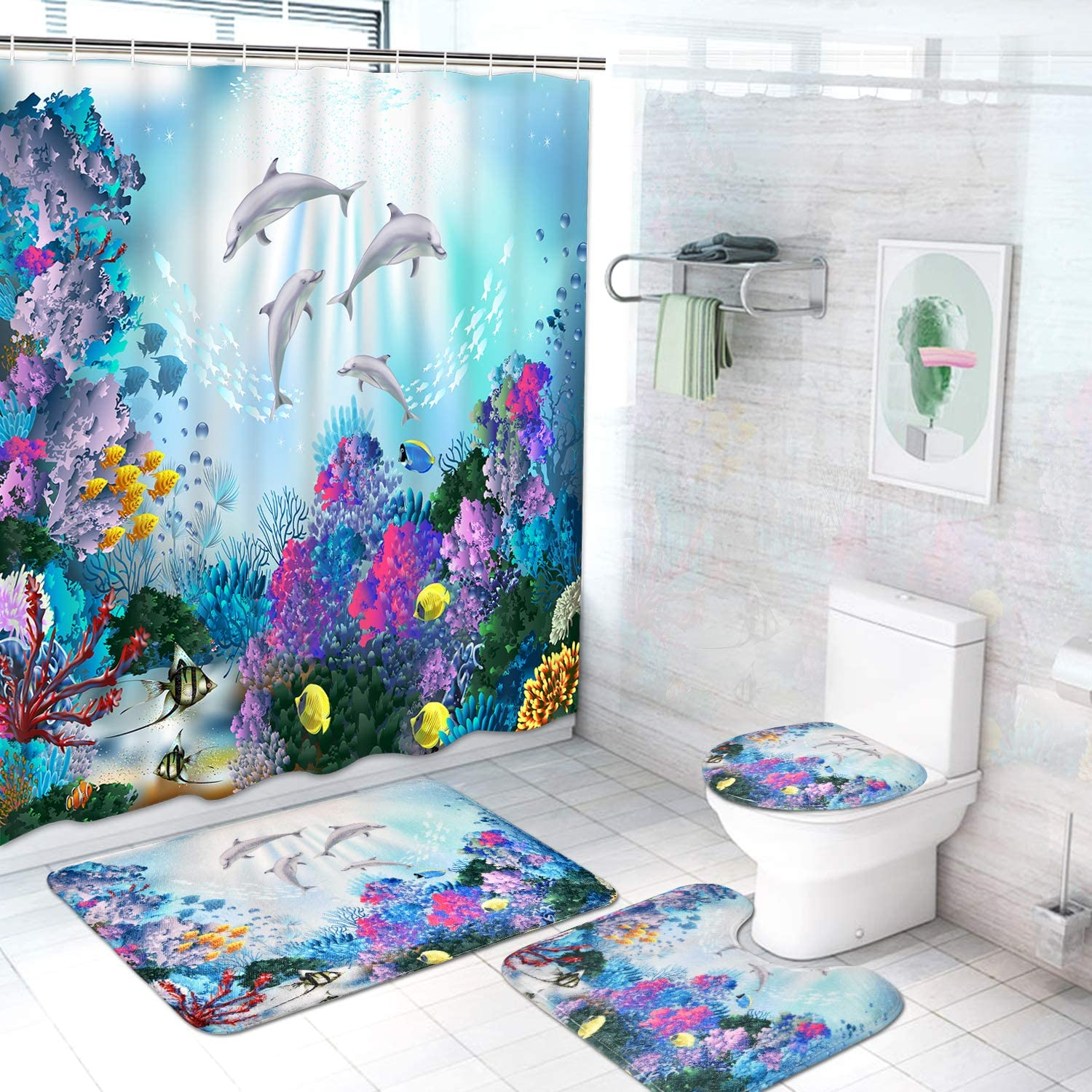 Ocean Creature Landscape Waterproof Shower Curtain Sets for Bathroom Toilet Lid Cover 4 Pcs Coral Dolphin Shower Curtain Set with Non-Slip Rug Bath Mat and 12 Hooks