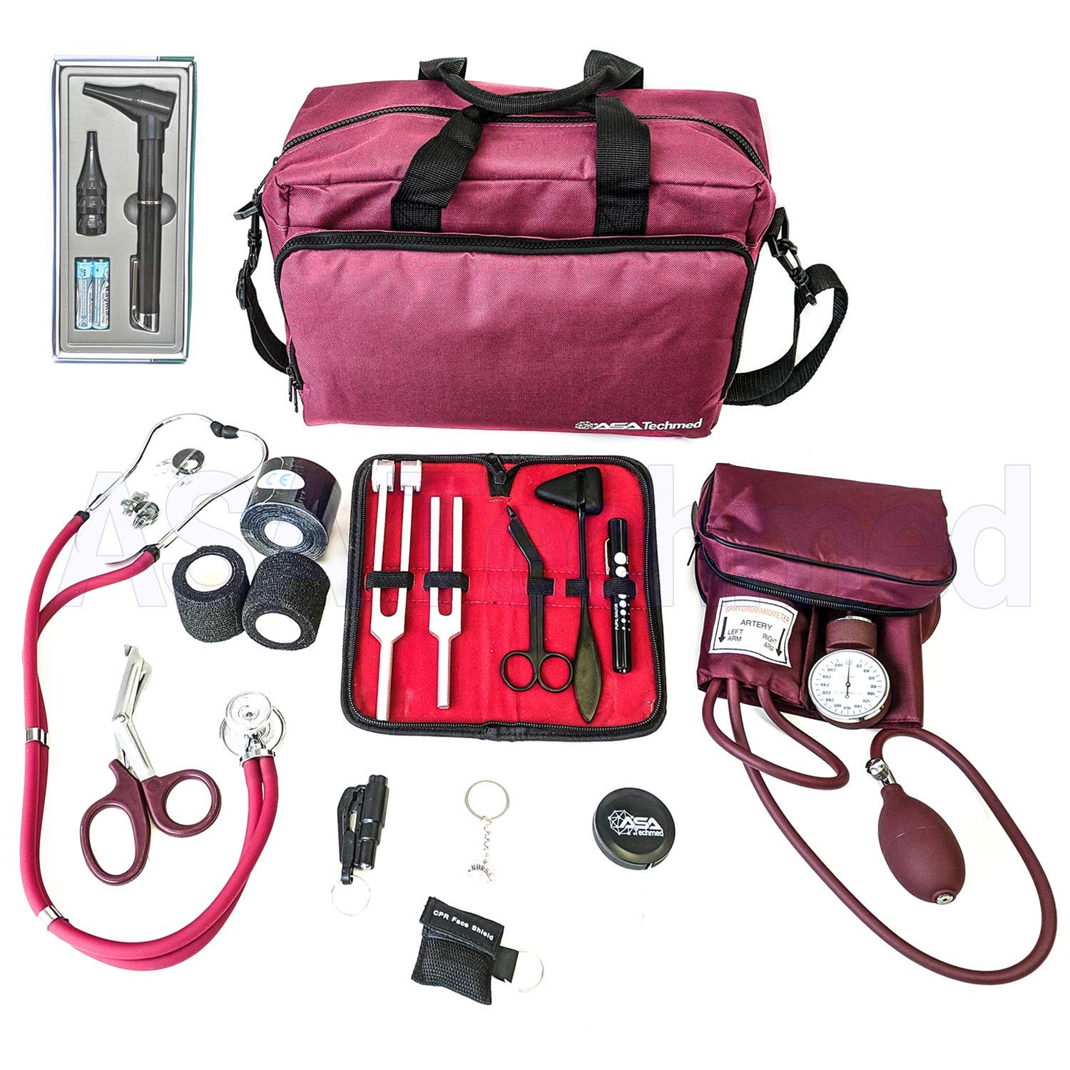 ASATechmed Nurse Starter Kit - Stethoscope, Blood Pressure Monitor, Tuning Forks, and More - 18 Pieces Total (Burgundy)