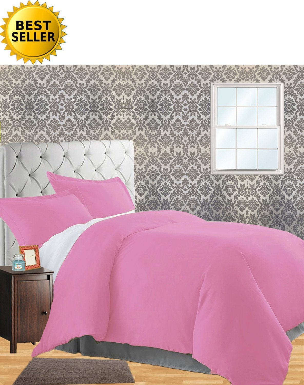 (King/California King, Light Pink) Celine Linen Wrinkle & Fade Resistant 3-Piece Duvet Cover Set Protects and Covers your Comforter / Duvet Insert, 1500 Series LUXURIOUS 100% HypoAllergenic Super Silky Soft, King/Cali King, Light Pink B01F0I3PDK King/California King ライトピンク ライトピンク King/California King