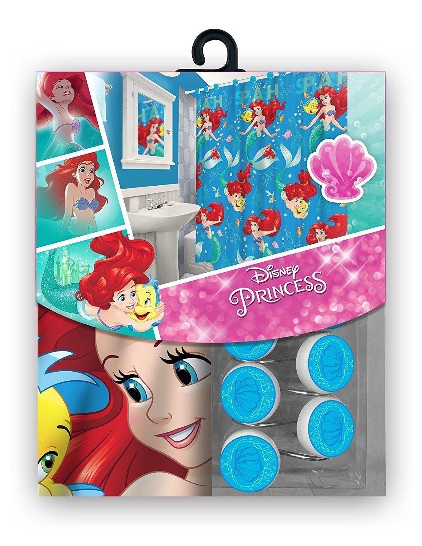 15pc Disney Ariel Little Mermaid Shower Curtain Bath Towel Foam Mat Hooks Set