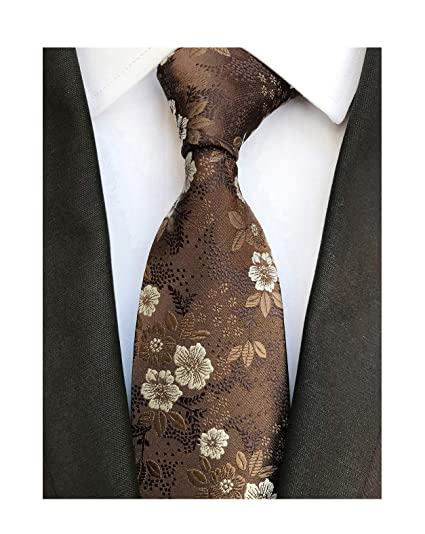 f35d5e5975b0 Mens Brown with White Floral Cravat Ties Woven Business Formal Necktie  Nearwear