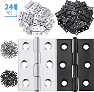 24 Pieces 1.8 Inch Stainless Steel Folding Butt Hinges Furniture Hardware Door Hinge with 144 Pieces Stainless Steel Screws for Cabinet Gate Closet Door (Black and Silver)