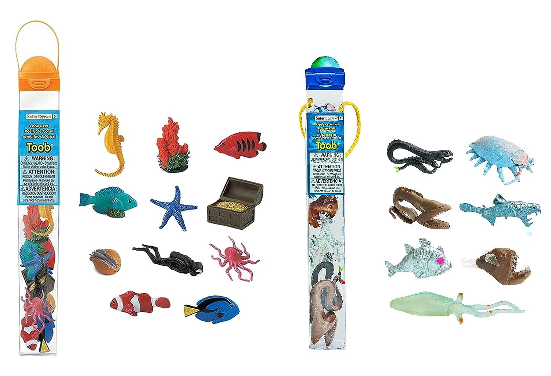 57e01ca43c2dc7 Amazon.com  Safari Ltd. Set of 12 Coral Reef TOOB and Set of 7 Deep Sea  TOOB  Toys   Games