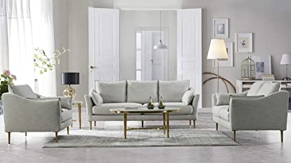 Acanva Luxury Mid-Century Modern Living Room Sofa Set, 3 Piece, Light grey