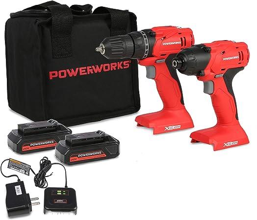 Amazon.com: POWERWORKS XB - Taladro inalámbrico de 20 V, 2 ...