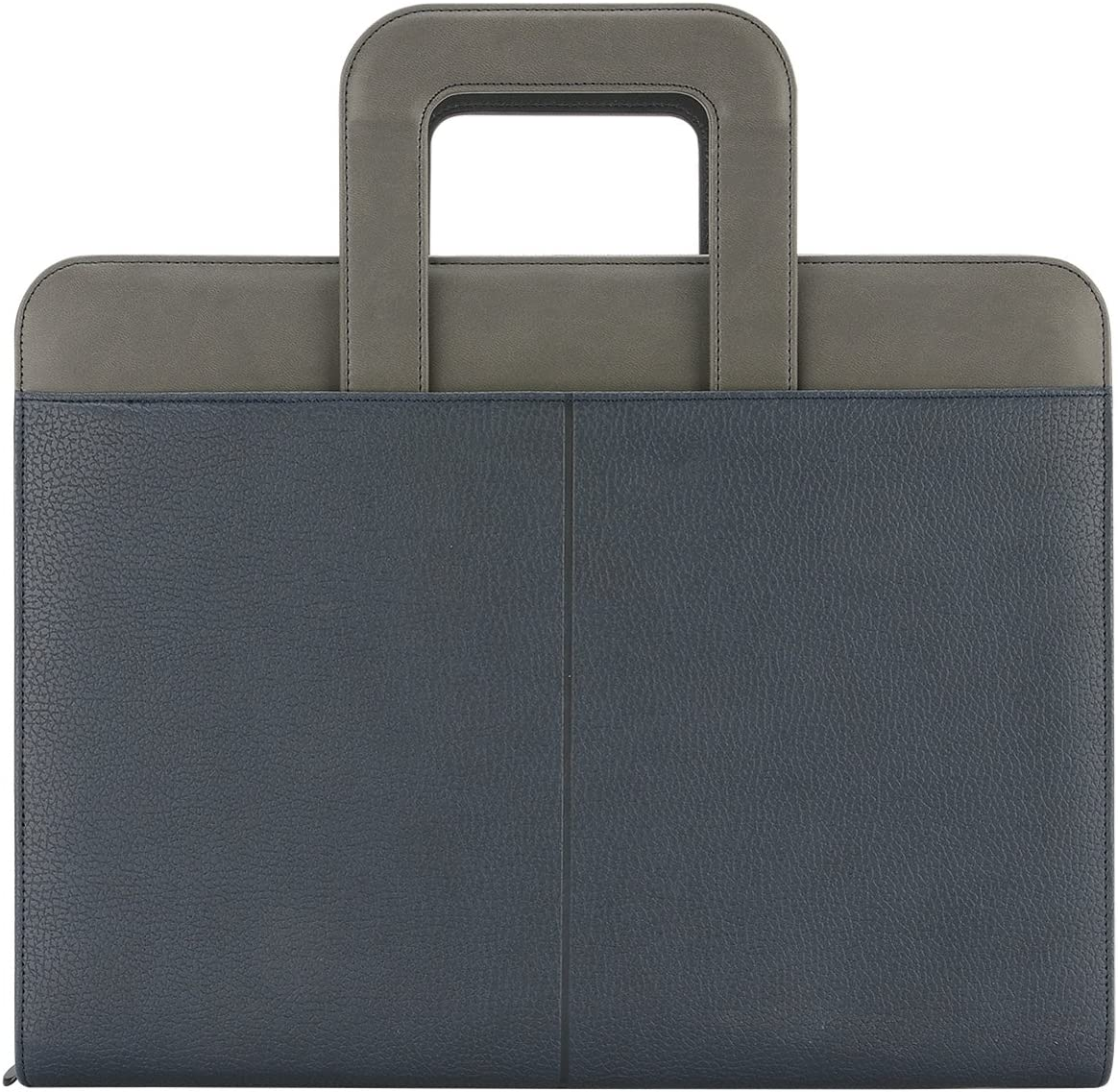 "NuVision Binder Zip Briefcase Padfolio, Elegant Navy Blue & Grey Stylish Zippered PU Leather Portfolio with Handle, Pockets & Refillable 8 ½ x 11"" Notepad-3 Ring Binder, can Hold Mini Pad!"