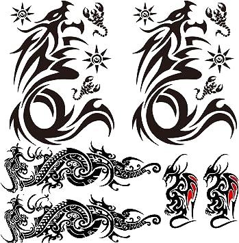 Leoars Tribal Dargon Totem Temporary Tattoos Totem Full Sleeve Tattoo Sticker Big Fake Dragon Tattoo Small Animal Totem Tattoos For Men Women Body Art Makeup 6 Sheet Amazon Ca Beauty