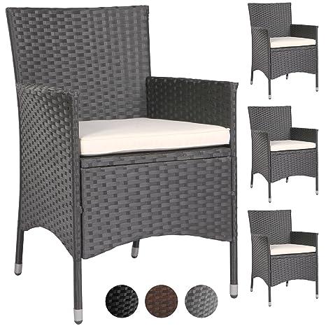 Miadomodo – Juego de 2/4 sillas sillones de jardín terraza (Resina Trenzada (Color a Elegir)