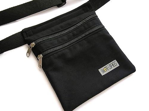 Riñonera negra de tela, riñonera hombre hecha a mano, bolso