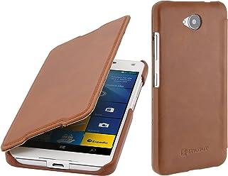 StilGut Book Type Case Senza Clip, Custodia in Pelle per Microsoft Lumia 650/650 Dual SIM, Cognac