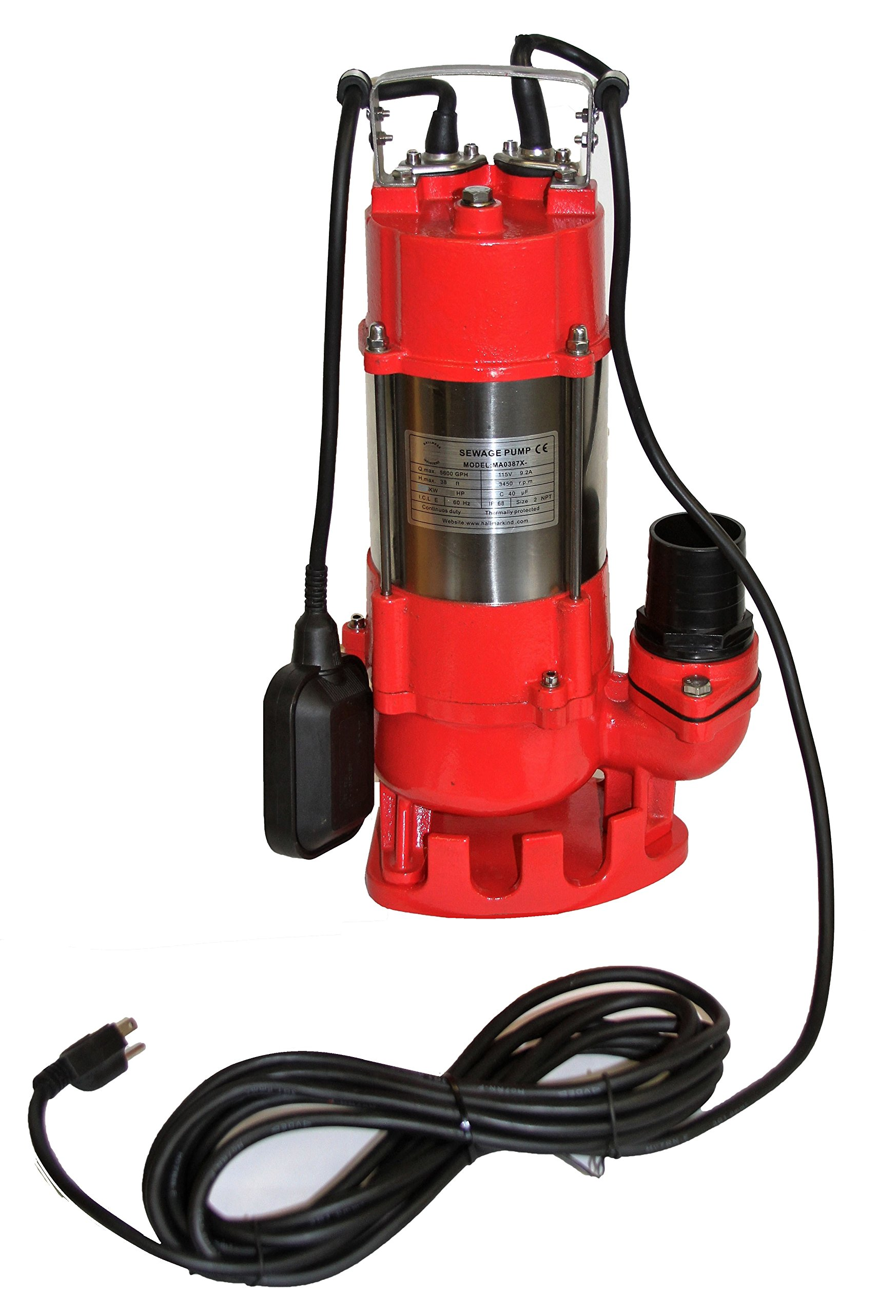 Hallmark Industries MA0387X-9 Sewage Pump, Stainless Steel, 1hp, 115V, with Float Switch, 7250 GPH/49' Lift, 20' Cable, Heavy Duty, Maximum Flow Rate, Stainless Steel