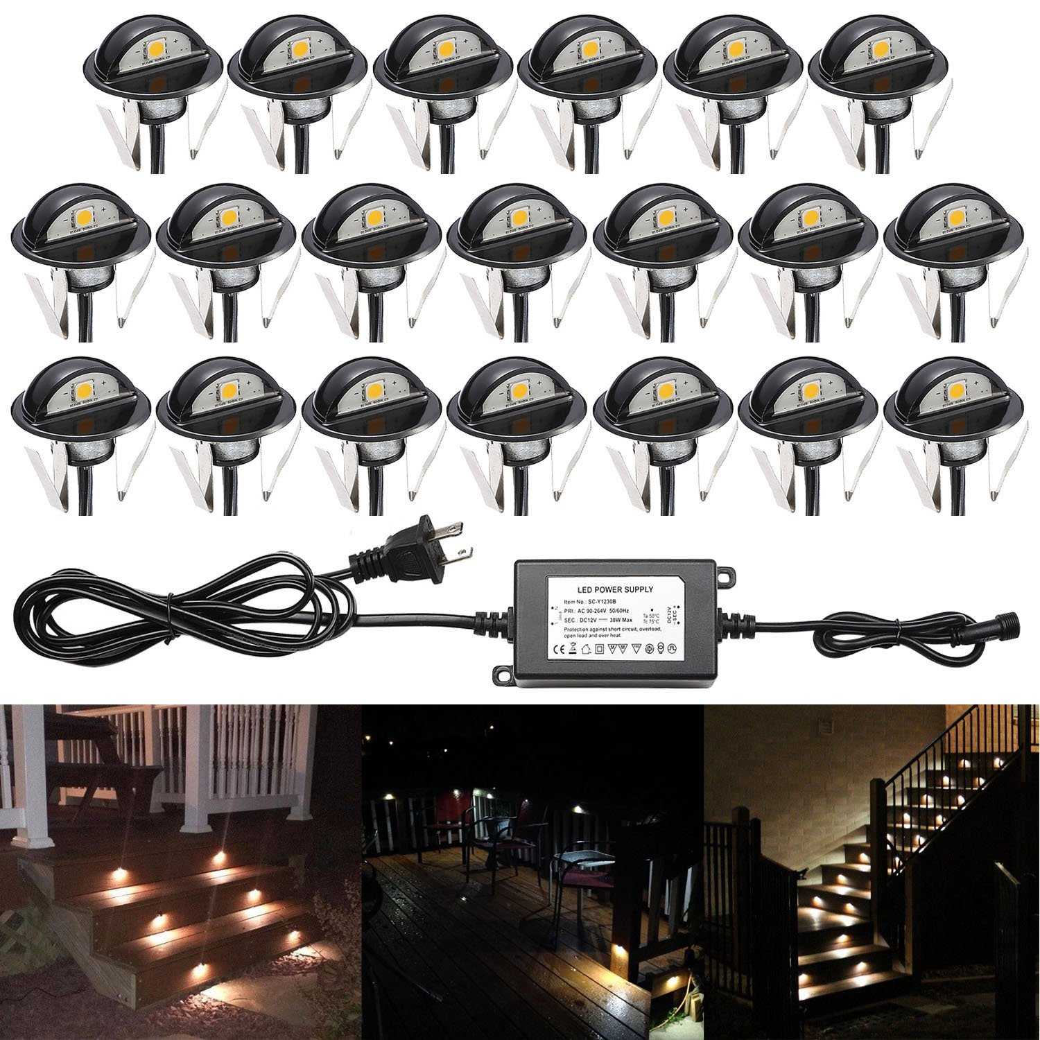 QACA 20pcs Recessed LED Deck Lighting Kits DC12V Low Voltage F1.38'' Waterproof IP 67,In Ground Lights for Steps,Stair,Patio,Floor,Pool Deck ,Kitchen,Outdoor Landscape Lighting Warm White