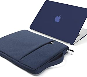 GMYLE MacBook Air 13 inch Case (A1369 A1466,Older Version 2010-2017 Release),2 in 1 Bundle Set Plastic Hard Case & Handle Carrying Sleeve Bag Compatible with Mac Air 13, Navy Blue