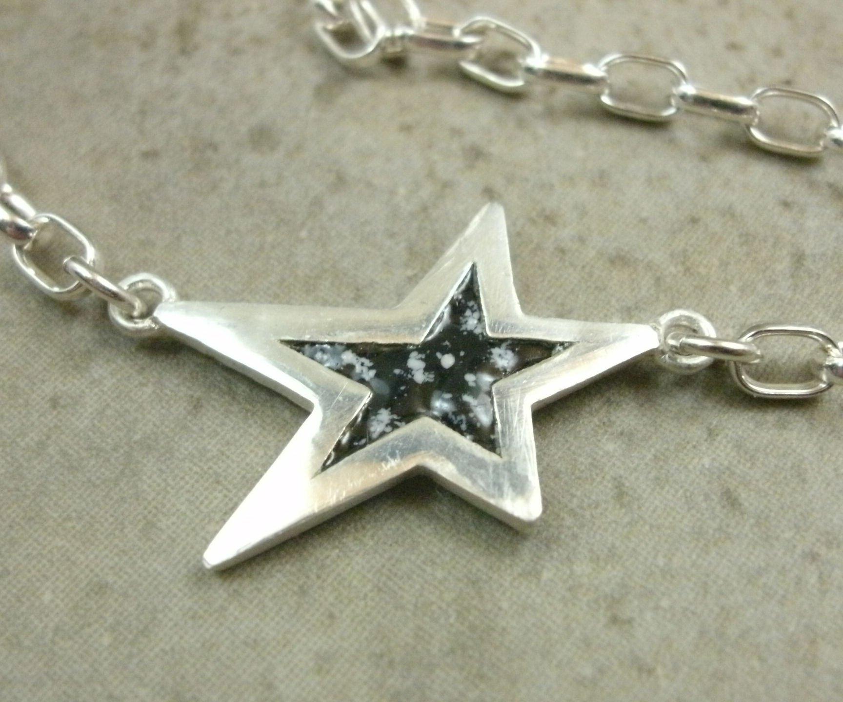 Sterling Silver Anklet- Enamel Star Ankle Bracelet- Celestial Jewelry