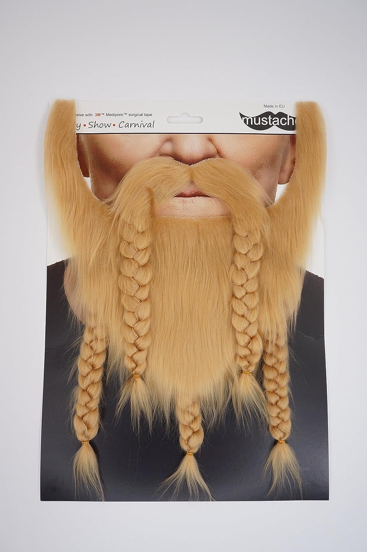 Novelty Viking Dwarf Fake Beard Mustaches Self Adhesive False Facial Hair Ginger Color