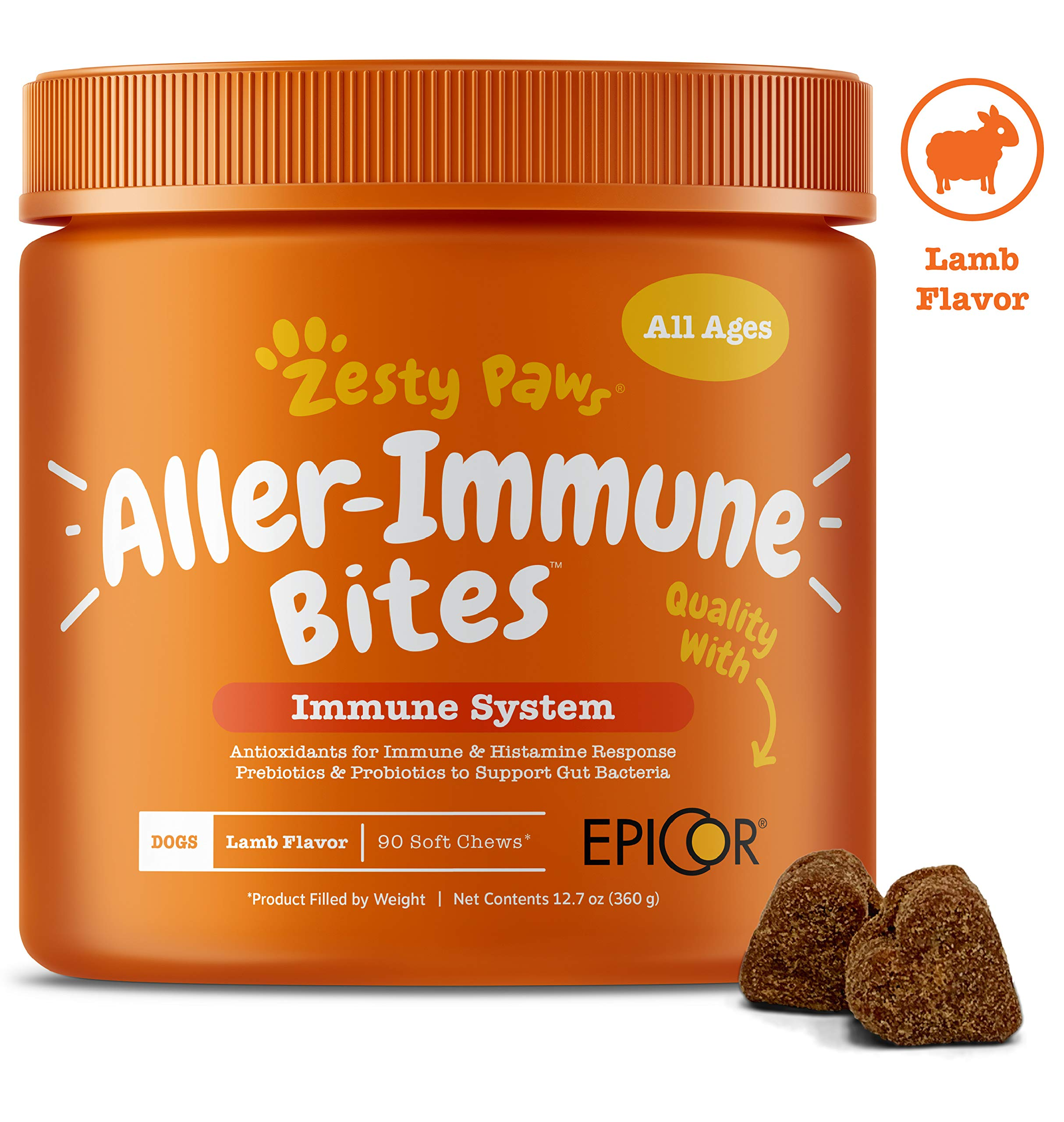 Allergy Immune Supplement for Dogs Lamb- with Omega 3 Wild Alaskan Salmon Fish Oil & EpiCor + Digestive Prebiotics & Probiotics - Anti Itch & Skin Hot Spots + Seasonal Allergies - 90 Chews by Zesty Paws