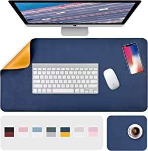"""Desk Pad, Desk Mat, Mouse Mat, XL Desk Pads Dual-Sided Blue/Yellow, 31.5"""" x 15.7"""" + 8""""x11"""" PU Leather Mouse Pad 2 Pack Waterproof, Mouse Pad for Laptop, Home Office Table Protector Blotter Gifts"""