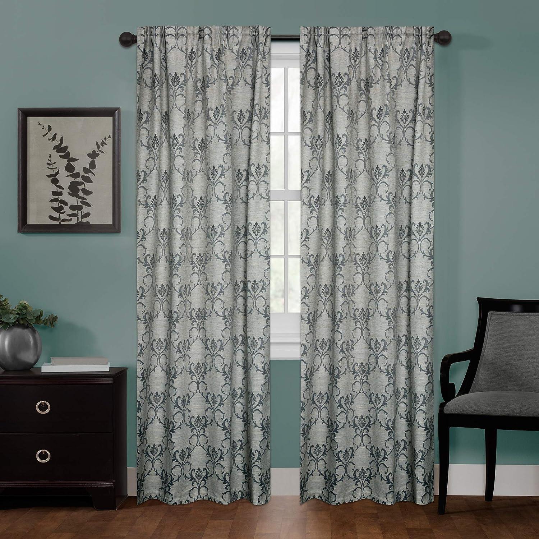Zenna Home Linen Damask Window Curtain, 40 x 84, Charcoal