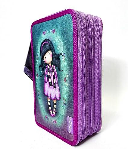 Gorjuss Santoro London - Estuche escolar de 3 cremalleras, color violeta y lila, con accesorios: Amazon.es: Oficina y papelería