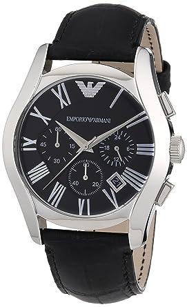 d5b37db23 Emporio Armani Men's Black Dial Leather Band Chronograph Watch ...