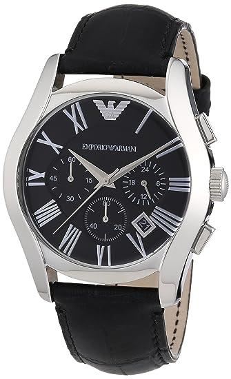 Emporio Armani AR1633 - Reloj cronógrafo de Cuarzo para Hombre, Correa de Cuero Color Negro: Amazon.es: Relojes