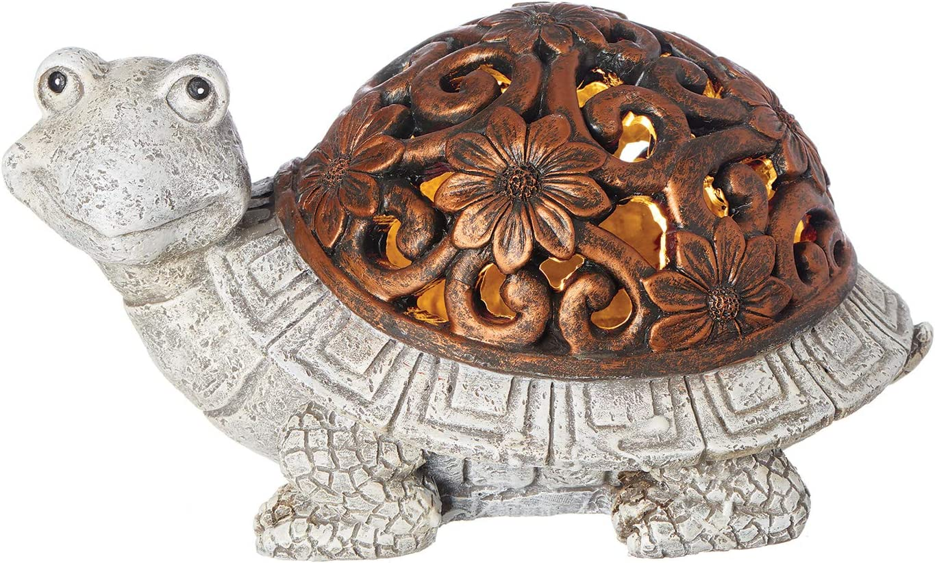 Roman Garden - Bronze Lighted Turtle Statue, 5H, Pudgy Pals Collection, Resin and Stone, Decorative, Garden Gift, Home Outdoor Decor, Durable, Long Lasting