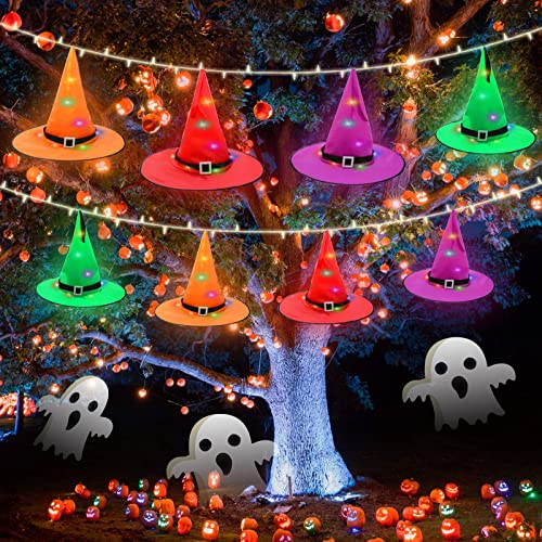 Halloween Decorations Outdoor,8Pcs 32.8ft 100leds Witch Hats Halloween Decorations String Lights Outdoor Hanging Lighted Battery Operated,Halloween Home Decor Lights for Indoor Outdoor Yard Party