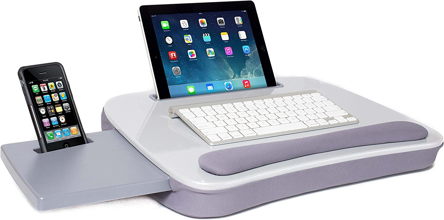 Sofia + Sam Multi Tasking Lap Desk (Silver) - Supports Laptops Up to 15 Inches