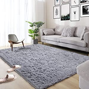 Area Rug, Qumig Ultra Soft Fluffy Area Rugs for Bedroom Luxury Shag Rug Faux Fur Non-Slip Floor Carpet for Livingroom, Kids Room, Baby Room, Girl Room and Nursery Modern Home Decor, 4x5.3 Feet Gray