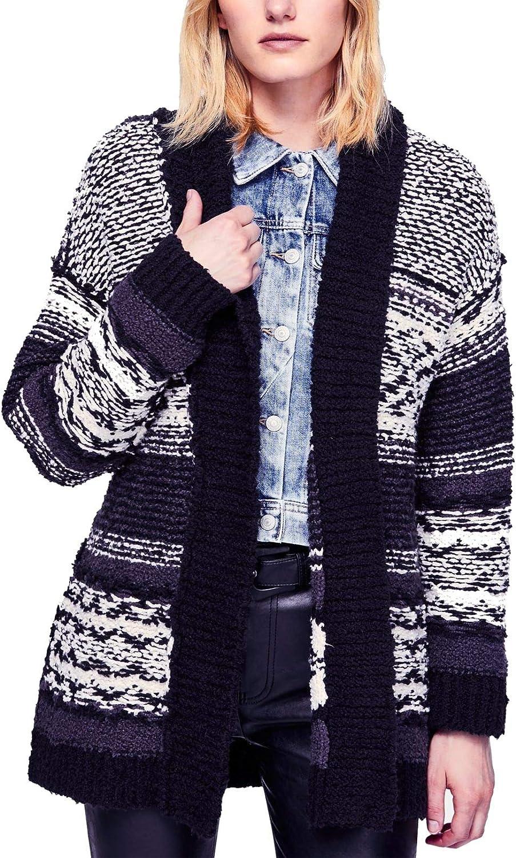 Free People Womens Cozy Cabin Knit Long Sleeves Cardigan Sweater B/W S Black