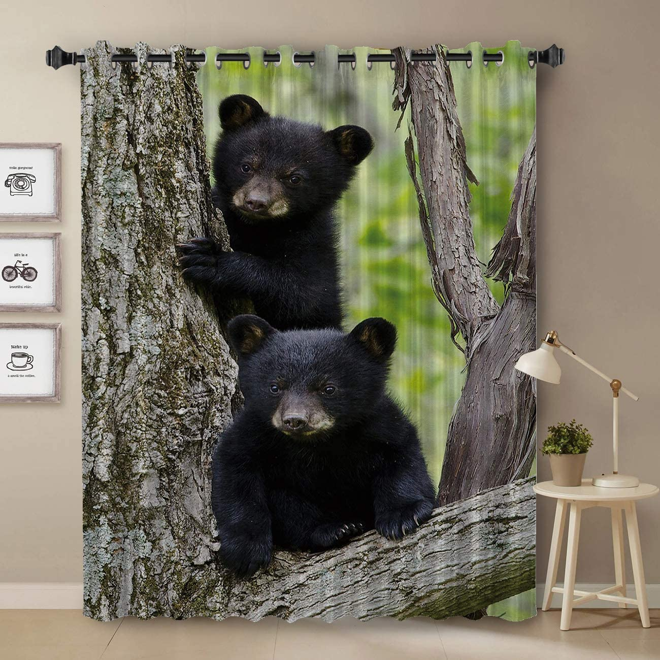Black Bear Curtain, Cubs Family Theme Rustic Wildlife Design Curtain for Bedroom, Room Darkening Blackout Curtain for Living Room Thermal Insulated with Grommet Window Curtain, 52 by 84 Inch