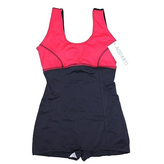 309eedc3821c Aquarti Damen Badeanzug mit Bein Tiefer Rückenausschnitt  Amazon.de   Bekleidung