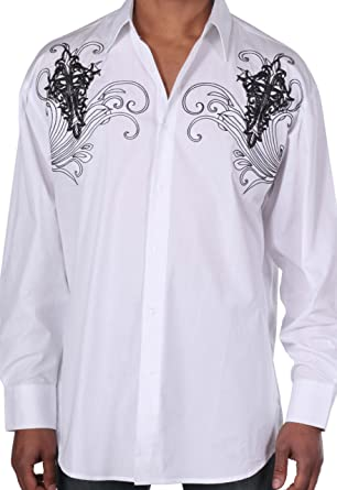 Georges Mens 100 Cotton Stylish Casual Shirt With Embroidery