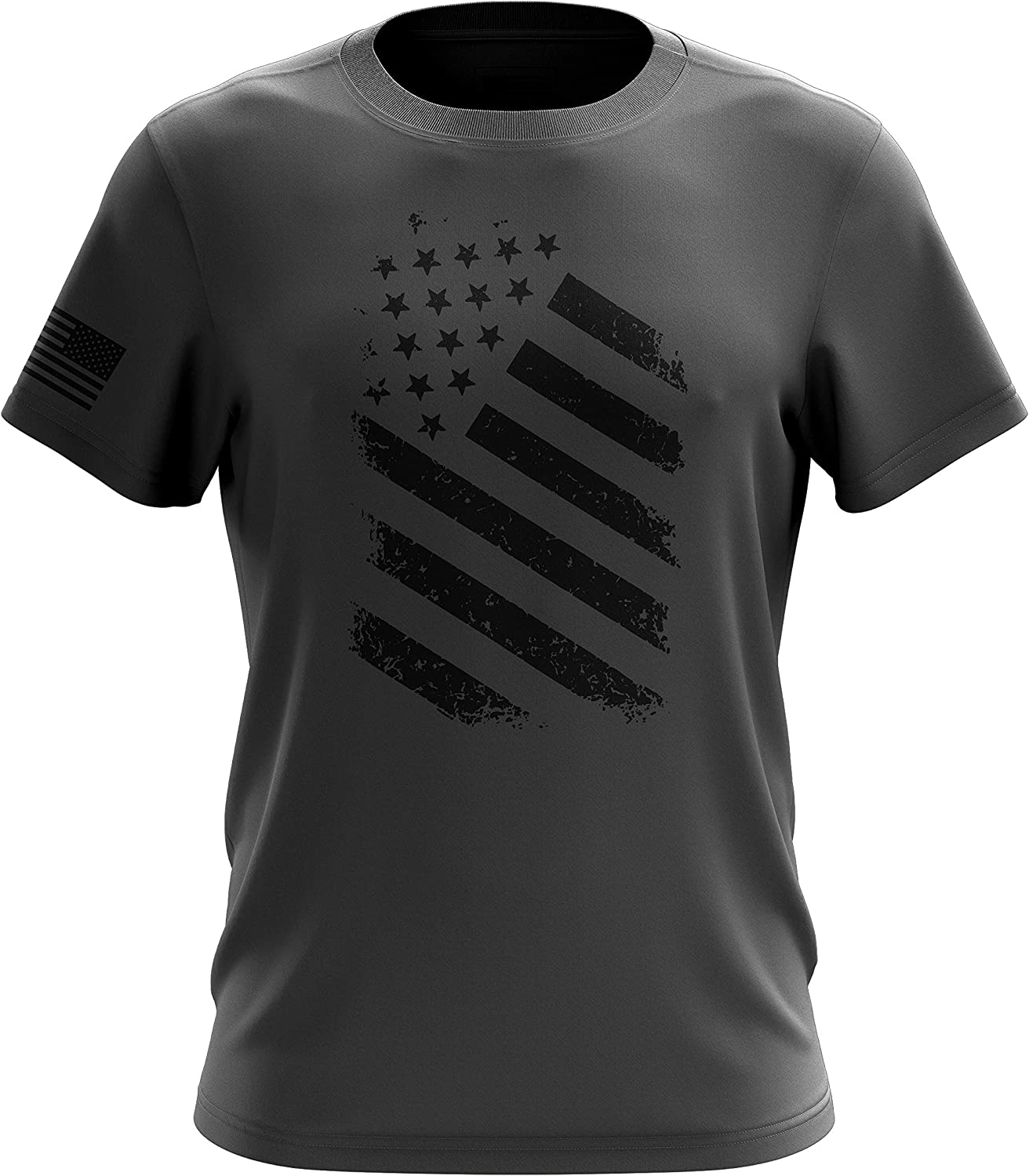 Old Glory Blue Line Red Line American Flag Military Army Mens T-Shirt Printed & Packaged in The USA