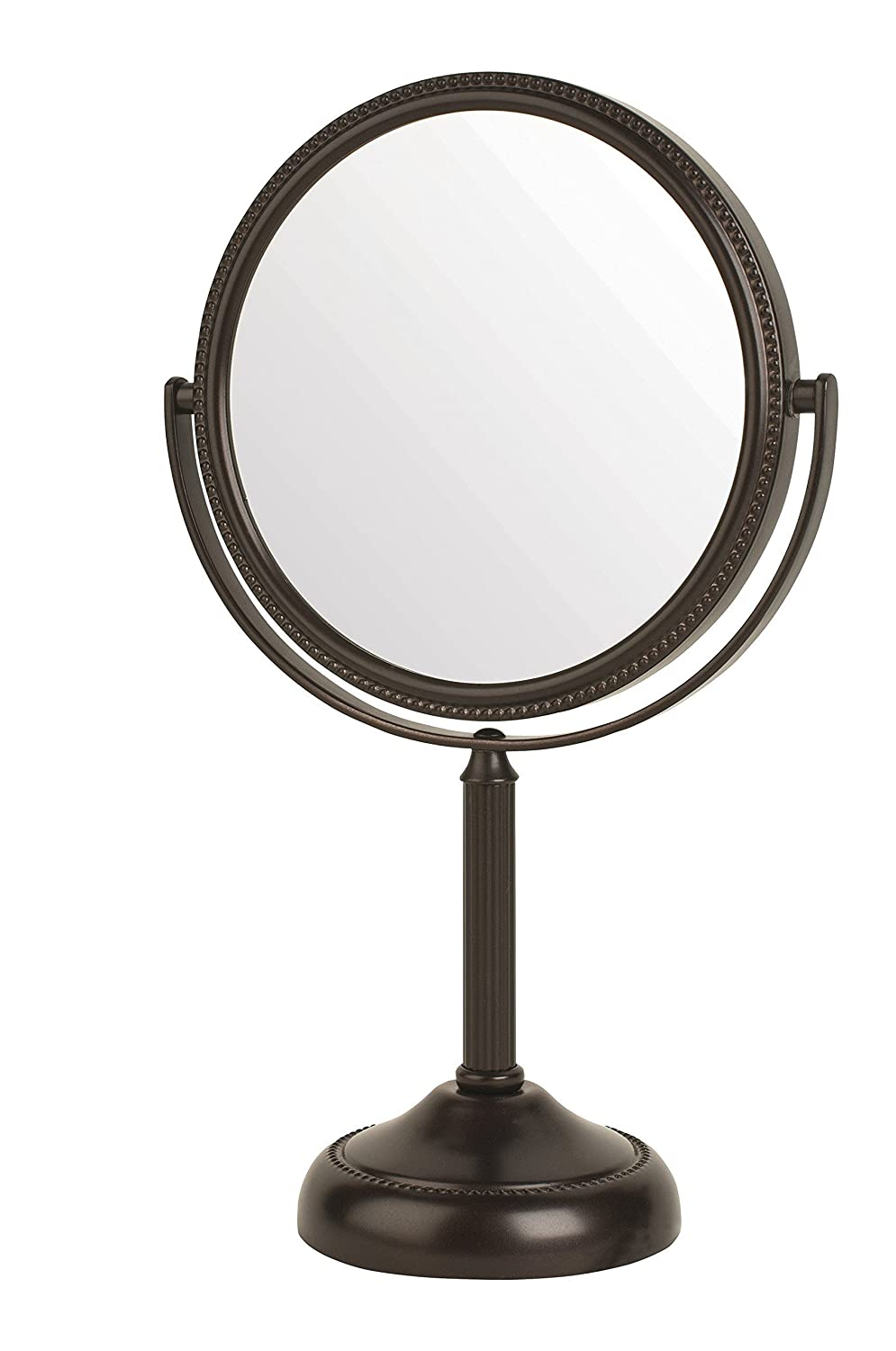 Jerdon JP910BZP 6-inch Tabletop Two-Sided Swivel Vanity Mirror with 10x Magnification, 11-inch Height, Bronze Finish