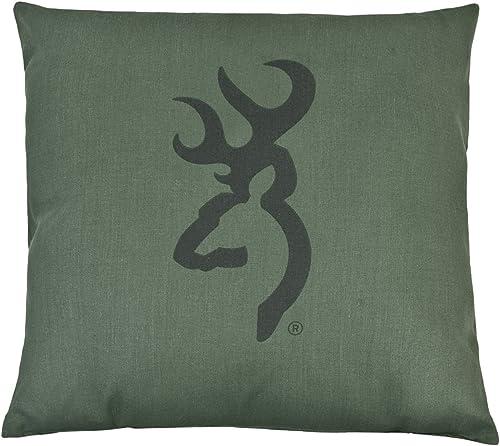 Browning Buckmark Camo – Green – Logo Pillow – Dark Logo, Light Ground