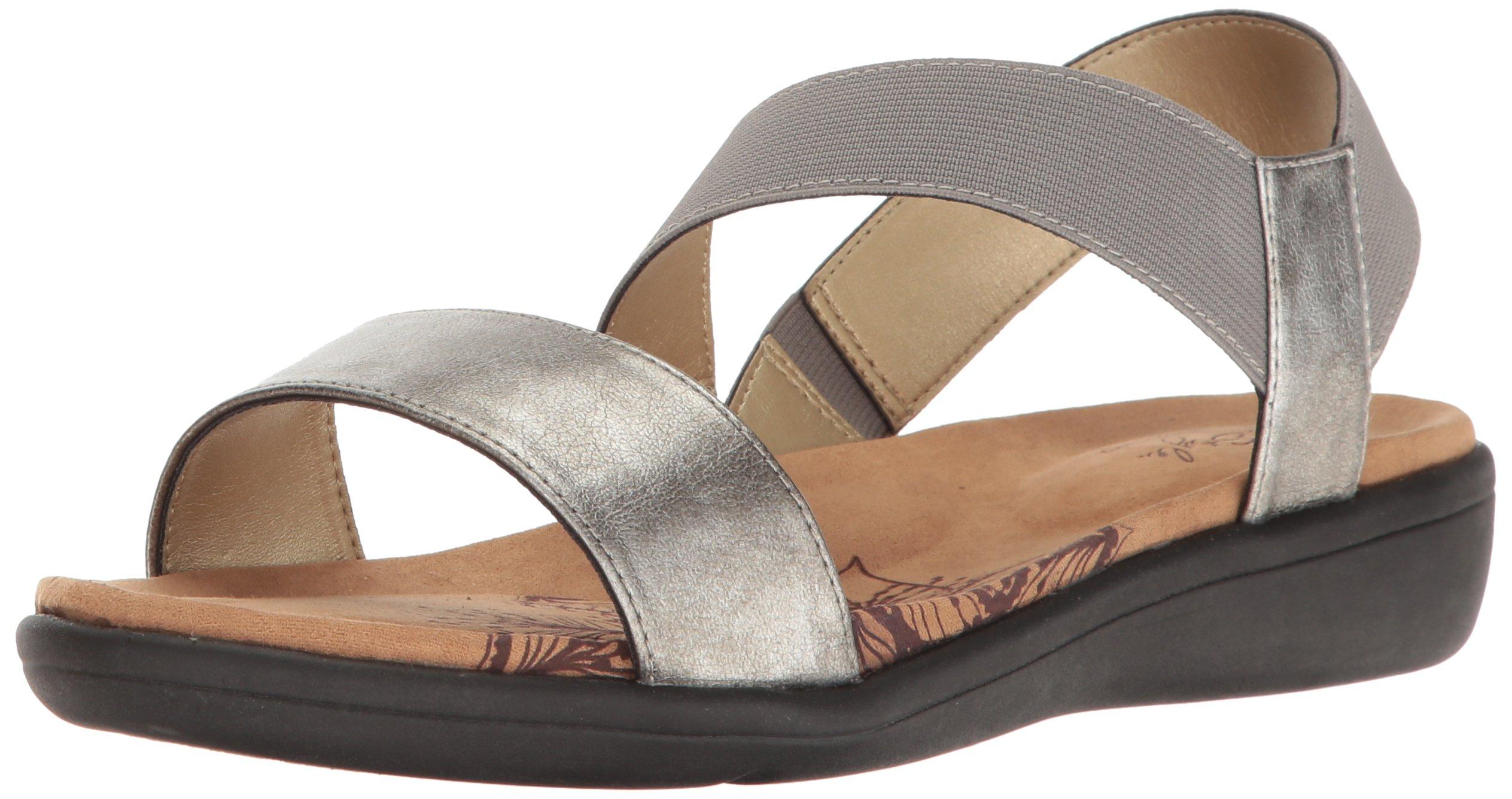 Soft Style Hush Puppies Women's Prema Flat Sandal, Pewter, 8 M US