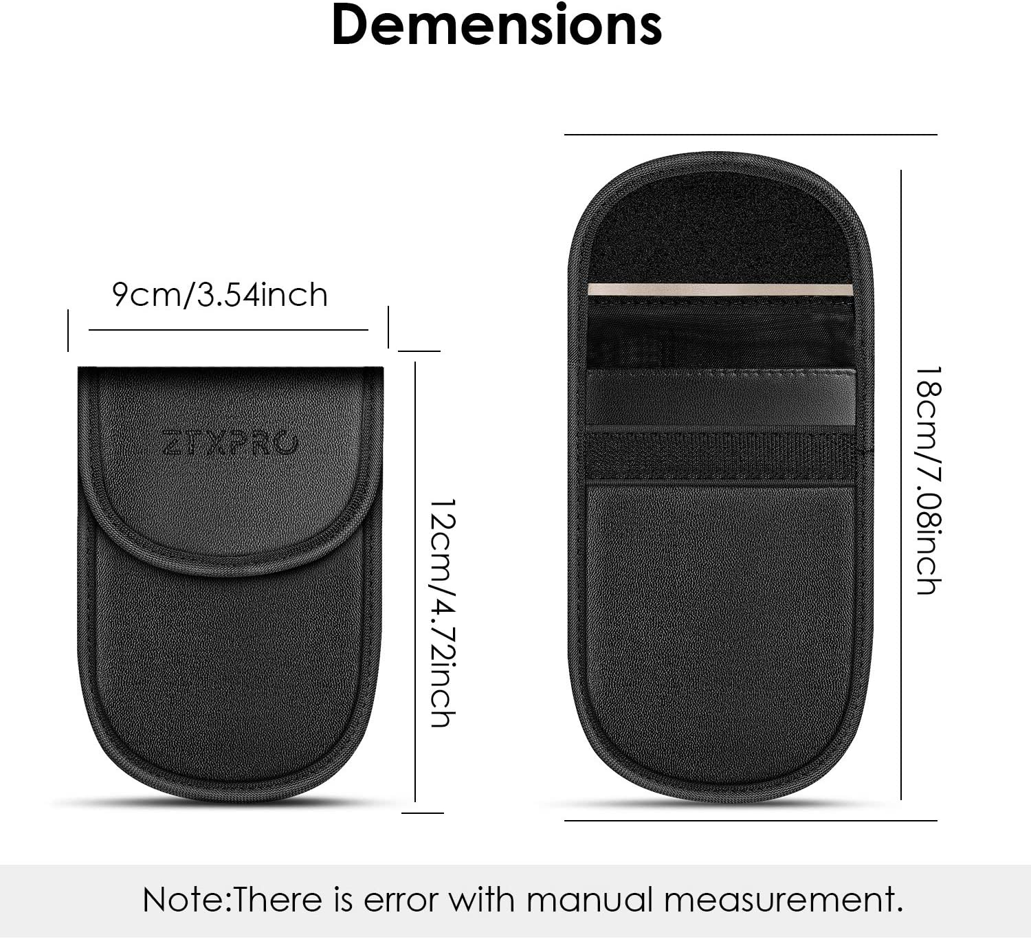 Faraday Key Fob Protector Anti Theft Pouch ZTXPRO Faraday Bag for Blocking Keyless Entry Fob Guard Anti-Theft Key Fob Protector RFID//NFC Blocking PU Leather Black 2 Pack