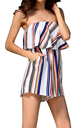 0bb81dd578ea Hibluco Women s Off Shoulder Rompers Sleeveless Short Jumpsuits with  Pockets (Small